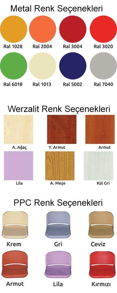 metal renk seçenekleri, werzalit renk seçenekleri, ppc renk seçenekleri